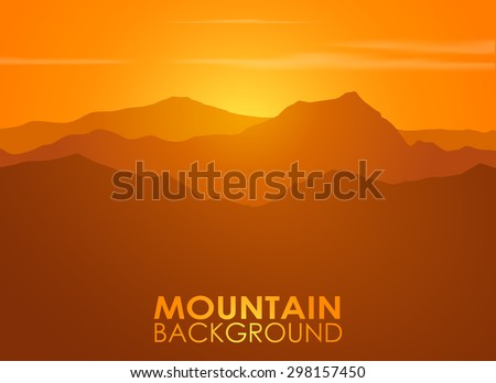 Mountain range over sunset. Vector background with copyspace. - stock vector