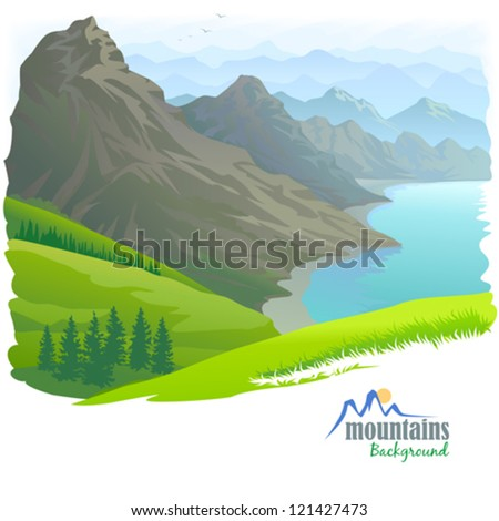 Mountain Range , River and Green Valley