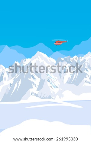 Mountain Range With Snow And Rescue Helicopter. Vector Background. Mountain View. Mountain Creek. Mountain Range Turbulence. Mountain Range In Europe. Mountain Range Definition. Mountain Range High.
