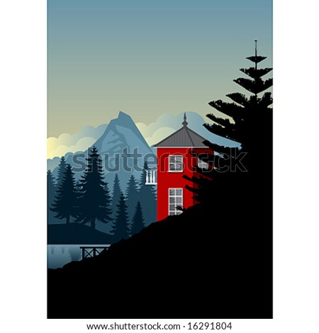 mountain red cabin