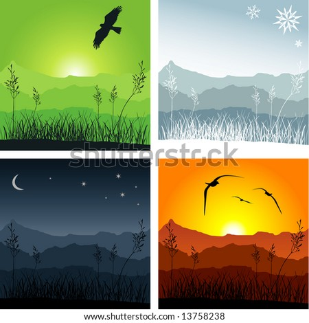 Mountain ridges with grass in the foreground. Four different versions representing winter, sunset, spring and night - stock vector