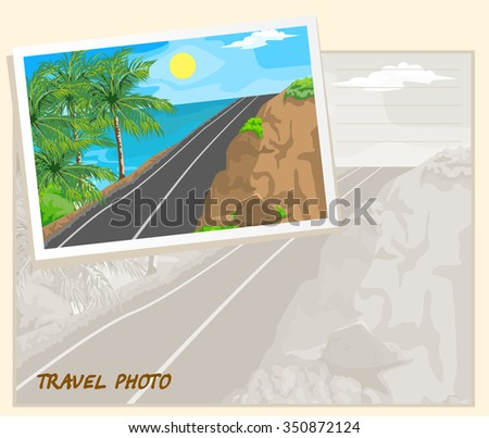 Mountain road and sea. Three palm trees. Template album.