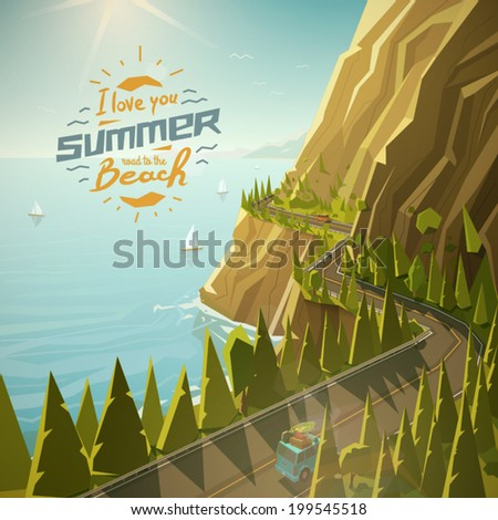 Mountain road vector illustration - stock vector
