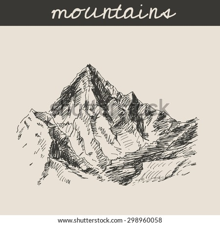 Mountain scenery sketch hand drawing, in engraving etching style, for extreme climbing sport, adventure and  tourism design