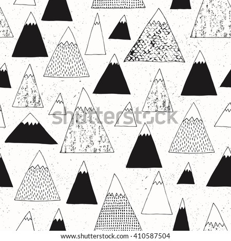 Mountain seamless pattern. Modern design. Vector illustration.