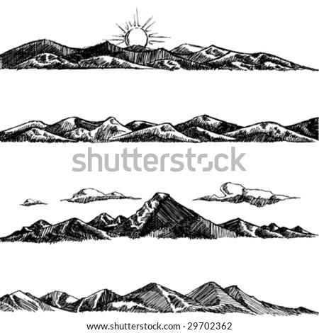 mountain set illustration - stock vector