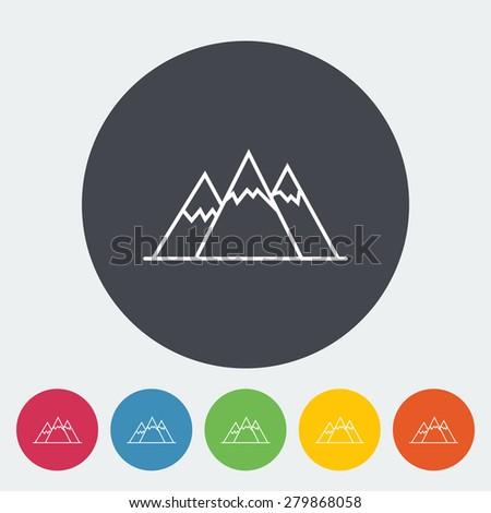Mountain. Single flat icon on the circle. Vector illustration. - stock vector