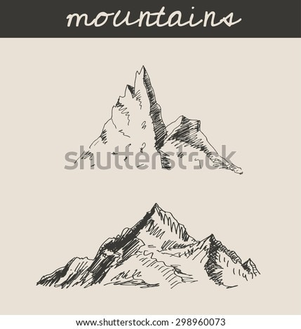 Mountain sketch hand drawing, in engraving etching style, for extreme climbing sport, adventure travel  and  tourism design