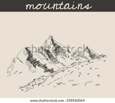 Mountain sketch hand drawing, in engraving etching style, for extreme sport, adventure travel  and  tourism design