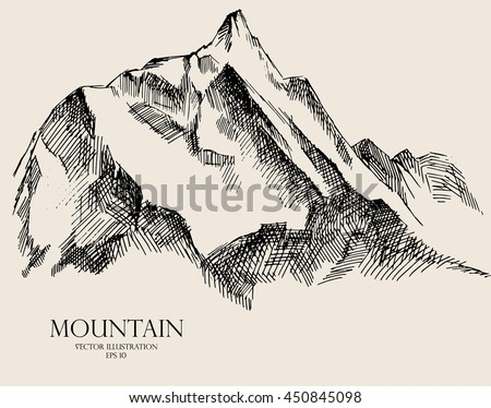 Mountain sketch, hand drawn vector illustration, contours of the mountains engraving style
