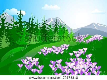 Mountain spring landscape with crocuses. - stock vector