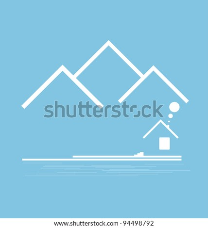 Mountain stylized with building vector format - stock vector