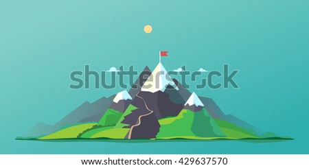 Mountain trail - stock vector