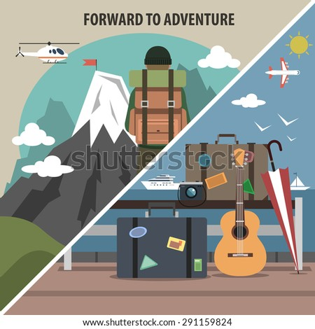 Mountain vacation packages and tours adventure travel company hiking diagonal isolated pictogram  banner flat abstract vector illustration - stock vector
