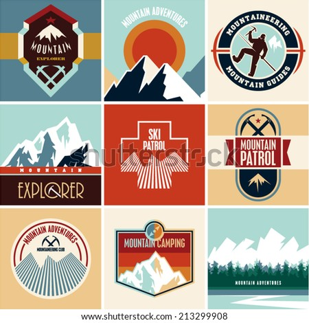Mountain vector. Flat style mountain labels collection. - stock vector