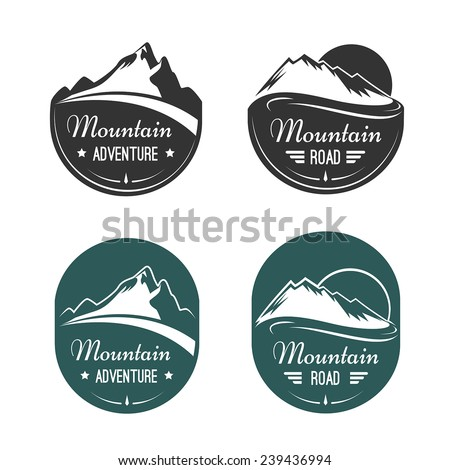 Mountain vector labels - stock vector