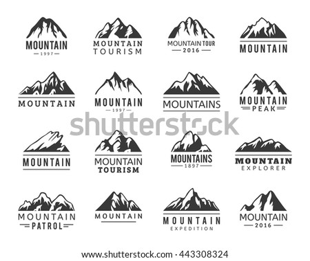 Mountain vector icons set. Set of mountain silhouette elements. Outdoor icon snow ice mountain tops, decorative symbols isolated. Camping mountain logo, travel labels, climbing or hiking badges - stock vector