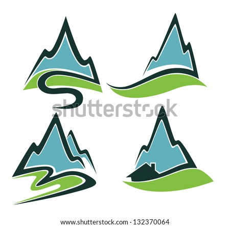 mountain view, high peaks and small home