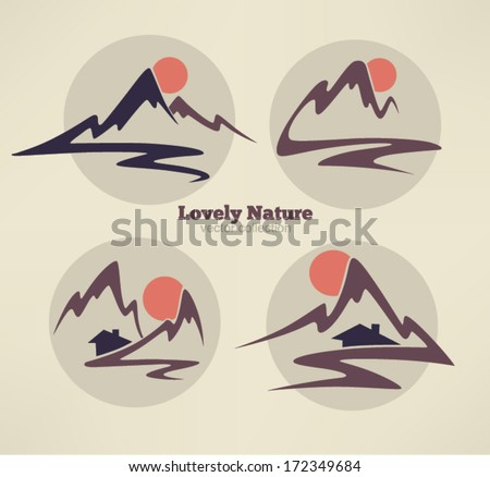 mountain view, high peaks and small houses - stock vector