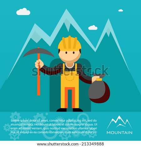 Mountain worker  miner or prospector emerging from a mine shaft or tunnel with a pick and sack of gold wearing a hardhat and overalls  vector illustration - stock vector
