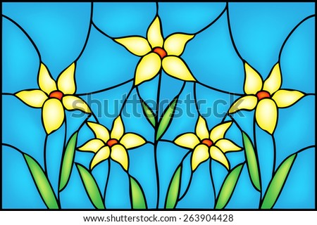 Mountain yellow flowers, floral composition in stained glass window style, vector illustration - stock vector