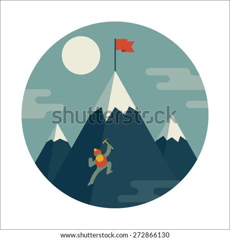 Mountaineer climb a snow mountain. Vector icon. - stock vector
