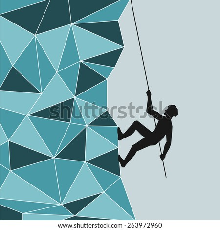 Mountaineer climbing up the rope - stock vector