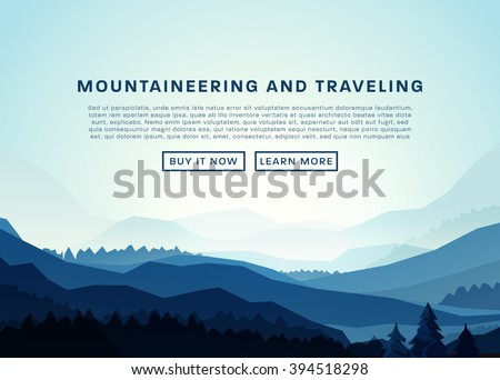 Mountaineering and Traveling Vector Illustration. Landscape with Mountain Peaks. Extreme Sports, Vacation and Outdoor Recreation Concept. Pine Forest. - stock vector