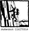 Mountaineering, climber climbing in rock wall of high mountains - stock vector
