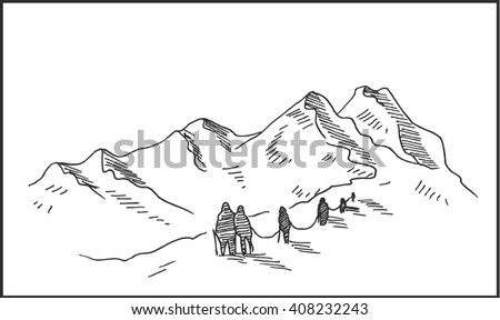 Mountaineering hand drawn sketch illustration with mountain climbers, for outdoor and expedition travel design. Mountain and mountain climbers  vector illustration