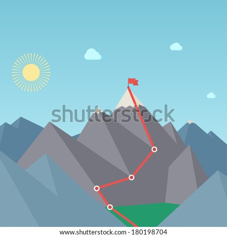 Mountaineering Route. Goal Achievement Concept. Vector - stock vector