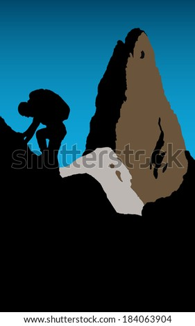 Mountaineering. Silhouette of a climber with sharp pinnacle in the background. - stock vector