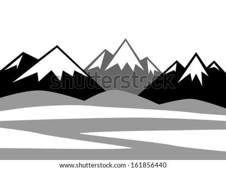 Mountainous landscape   - stock vector