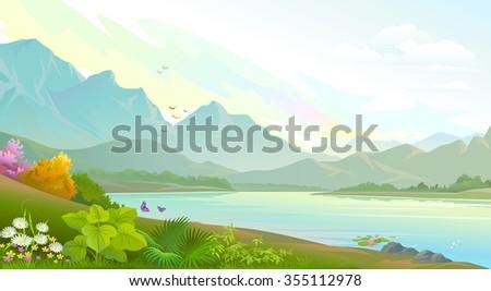 Mountainous landscape and a calm lake - stock vector