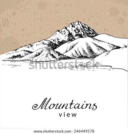 Mountains and Lake. Hand drawn Vector Illustration