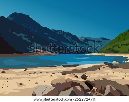 Mountains and lake landscape. EPS 10 format. - stock vector