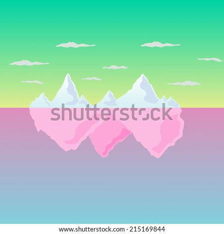 Mountains and Sea Landscape in eps8 - stock vector