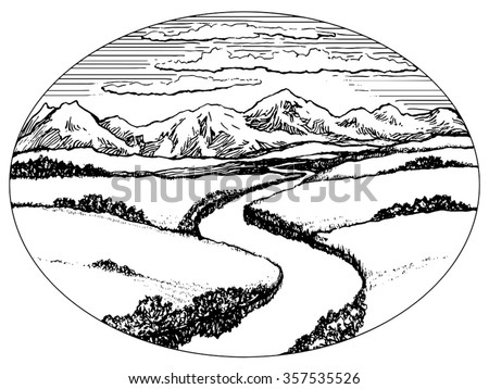 Mountains Valley River Landscape Ink Drawing Stock Vector (Royalty on