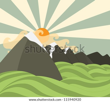 mountains background - stock vector