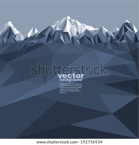 Mountains background in glacier (illustration of a many triangles)  - stock vector