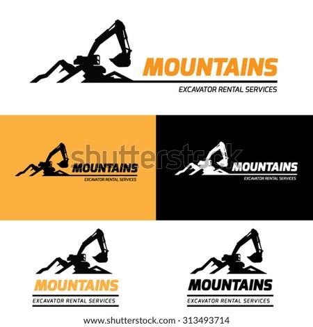 Mountains Excavator Vector Logo Template. - stock vector