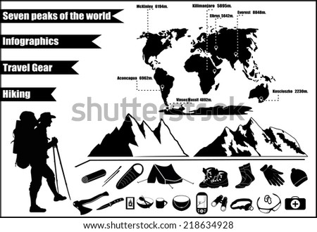 Mountains hiking infographics with icons and elements. The highest peaks in the world.  - stock vector