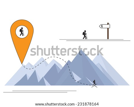 mountains hiking pointer on the way  - stock vector