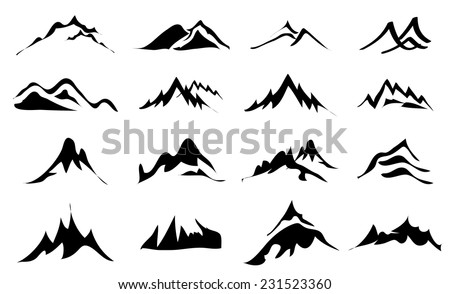 Mountains icons set - stock vector