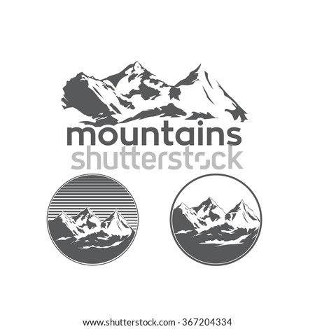 Mountains in Sketch Style on White Background - stock vector