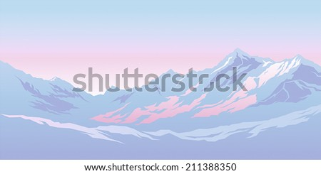 Mountains in the background of the morning sky - stock vector