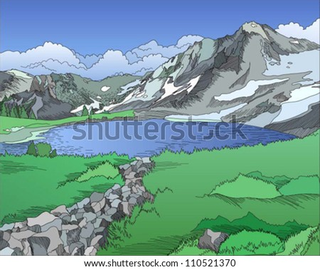 Mountains landscape, vector color illustration with hatching - stock vector