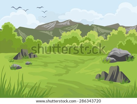 Mountains landscape with trees in the foreground - stock vector