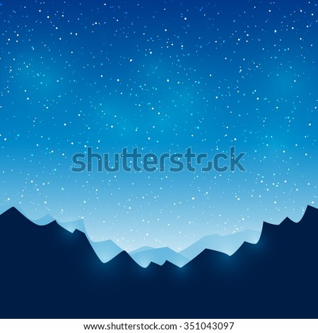 Mountains on starry sky background