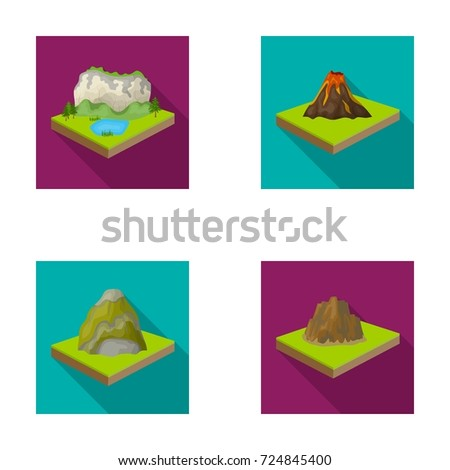 Mountains, rocks and landscape. Relief and mountains set collection icons in flat style isometric vector symbol stock illustration web.